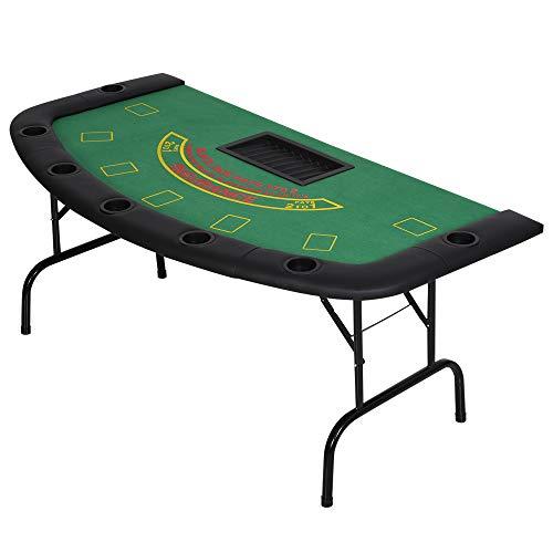 Soozier 72' Folded 7 Player Poker Blackjack Table with Chip&Cup Holder - Green Felt