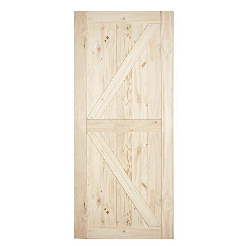 BELLEZE 36in x 84in Sliding Barn Wood Door Unfinished Knotty Pine Single Door Only Pre Drilled (3 ft X 7 ft) Interior, Natural