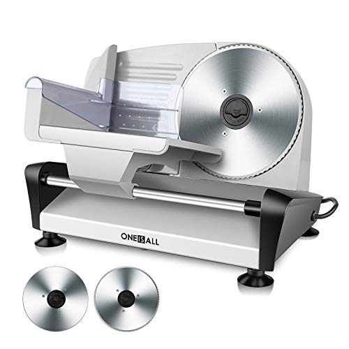 Meat Slicer | Electric Deli Food Slicer Machine with Two 7.5' Removable Stainless Steel Blade | Food Carriage & Pusher | Cheese Bread Fruit Vegetable Cutter | Adjustable Thickness Dial | Non-Slip Feet