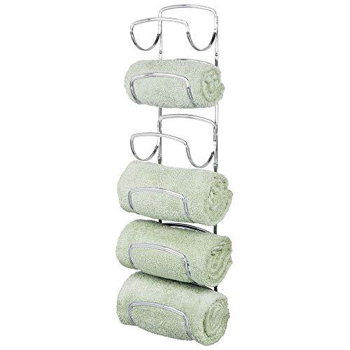 mDesign Modern Decorative Six Level Bathroom Towel Rack Holder & Organizer, Wall Mount - for Storage of Washcloths, Hand Towels - Chrome