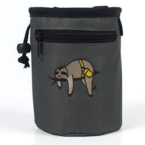 Craggy's Chalk Bag for Kids and Adults with Drawstring Closure, Zippered Pocket, Adjustable Quick-Clip Belt and Embroidered Sloth Design (Gray)