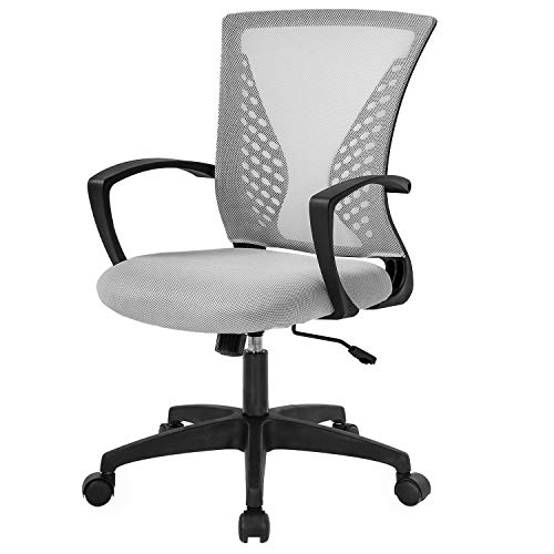 Home Office Chair Mid Back PC Swivel Lumbar Support Adjustable Desk Task Computer Ergonomic Comfortable Mesh Chair with Armrest (Grey)