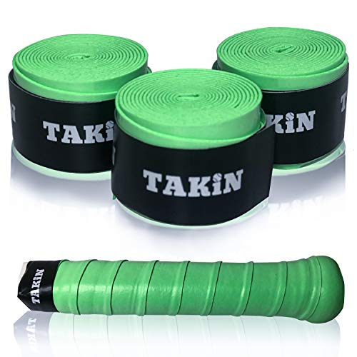 Takin Best Tacky Tennis Grips - Absorbent Over Grip for Tennis Racquet Handle - White and Mixed Color Overgrip Tape Replacement for Racket - 3 Pack Overwraps and 60 Pack Overgrips (Green)