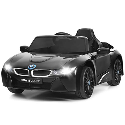 Costzon Ride on Car, 12V Battery Powered Electric Vehicle w/ 2 Motors, 2.4G Remote Control, 3 Speeds, LED Lights, MP3, Horn, Music, Spring Suspension, Kids Ride on Toys for Boys & Girls (Black)