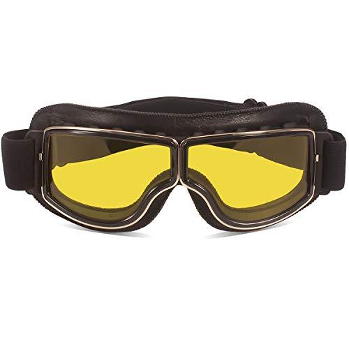 TYSKL Retro Pilot Motorcycle Goggles Fog-proof Warm Riding Goggles ATV Bike Motocross Glasses Protective Eyewear(Black/Yellow Lens)