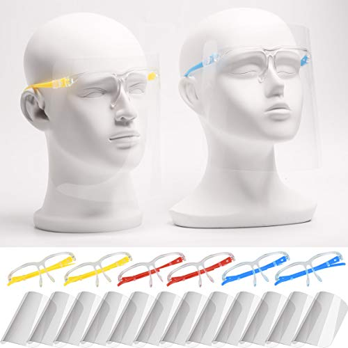 Anti-fog Reusable Face Shields with Glasses Frame Set for Men and Women,6 Colorful Frames with 12 Shields