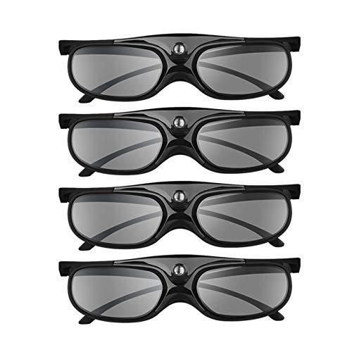 BOBLOV 144Hz DLP Link 3D Glasses 4 Pack, Rechargeable 3D Active Shutter Glasses for All 3D DLP Projectors, Compatible with Optoma, Samsung, BenQ, Dell, Acer, Vivitek, NEC, Sharp (Black)