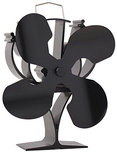 VODA New Designed 4 Blades Heat Powered Stove Fan for Wood/Log Burner/Fireplace - Eco Friendly(Black)