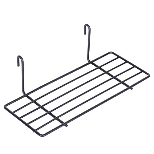 Kaforise Hanging Straight Shelf for Wire Wall Grid Panel, Small Wire Wall Organizer and Display Shelf, Size 9.8'X3.9',Black Painted