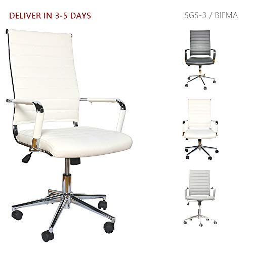 LUCKWIND Ergonomic Office Chair Ribbed Leather Swivel - Adjustable Height Tilt Arm Sleeves Lumbar Support High Back Upholstery Executive Conference Task Computer Chrome Wheel Caster 350lbs Big (White)