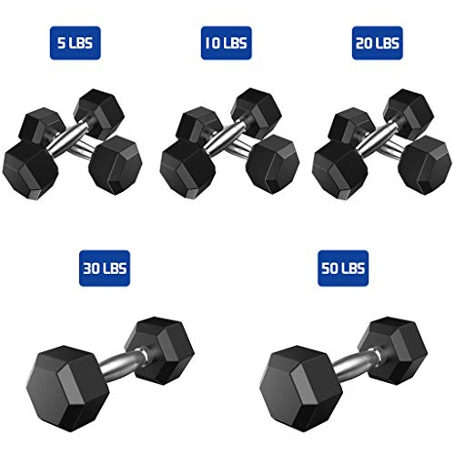 RINKOUa Rubber Hex Dumbbells, Barbell Set with Metal Handles Pair of 2 Heavy Dumbbells, Exercise at Home Best Choice for Strength Training Best Muscle Exercise Equipment (1Pair-10lbs)