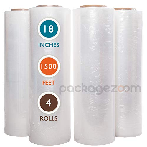 PackageZoom 4 Rolls 18' x 1500 Ft Stretch Wrap Heavy Duty, Industrial Strength Shrink Wrap, 55 Gauge High Performance Stretch Film Replaces 80 Gauge Low Films, Clear Hand Stretch Wrap