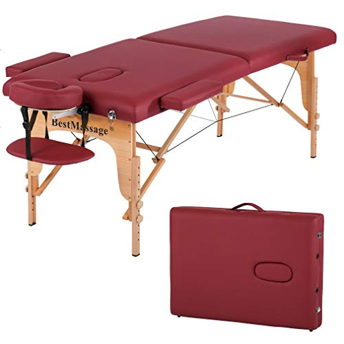 Massage Table Massage Bed Spa Bed PU Portable 84' 2 Fold Heigh Adjustable Massage Table Bed w/Free Carry Case Facial Cradle Salon Tattoo Bed