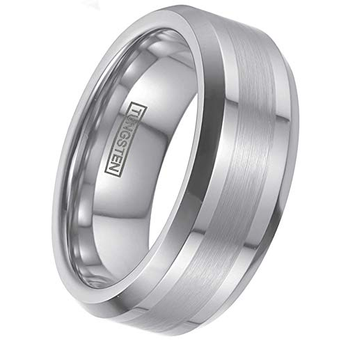 Personalized Engraved 6mm/8mm Silver Tungsten Wedding Band w/ 1/2 Brushed Finish Band & Beveled Edges. (Tungsten (8mm), 9.5)