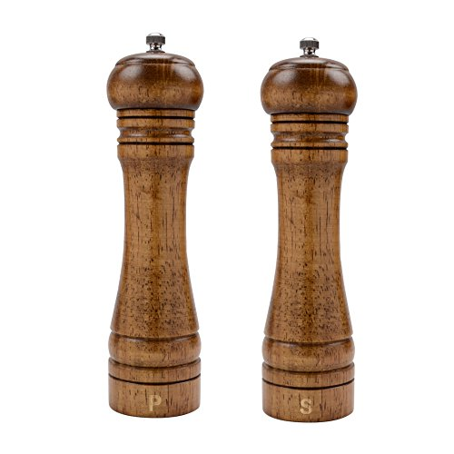 XQXQ Wood Salt and Pepper Mill Set, Pepper Grinders, Salt Shakers with Adjustable Ceramic Rotor- 8 inches -Pack of 2