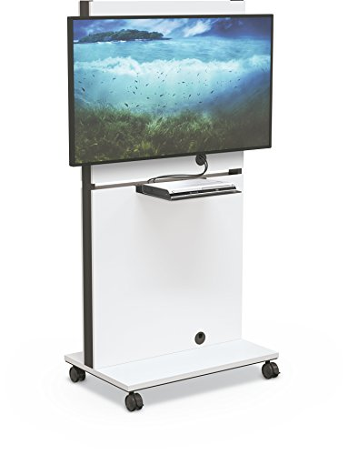 Balt Media Space Mobile Flat Panel TV Cart, White, 70'H x 34.1'W x 21.8'd