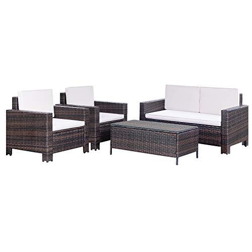 Homall 4 Pieces Outdoor Patio Furniture Sets Rattan Chair Wicker Conversation Sofa Set, Outdoor Indoor Backyard Porch Garden Poolside Balcony Use Furniture (Beige)