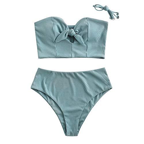 ZAFUL Women's Keyhole Tankini Swimsuits Knot Front Lace Up Back Bikini Set (L, Cyan-Ribbed)