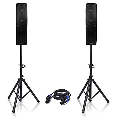 """Sound Town Passive Mini Line Array Column Speaker System CARPO-V4 with Two 500W 4 X 4"""" Column Speakers, Stands and 9 Feet Audio Cables"""