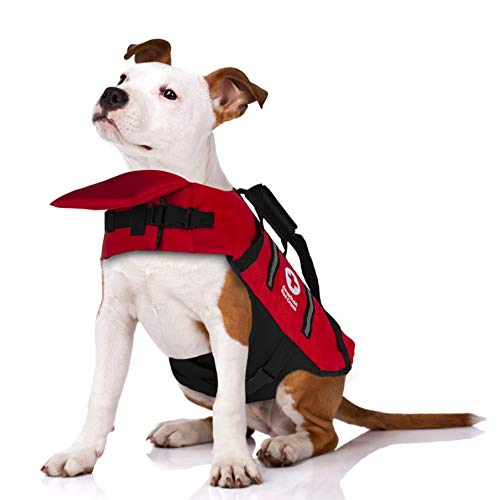 Penn-Plax Officially Licensed American Red Cross Safety Life Jacket and Flotation Device for Dogs – Red Color with Reflective Strips – Extra Large Size