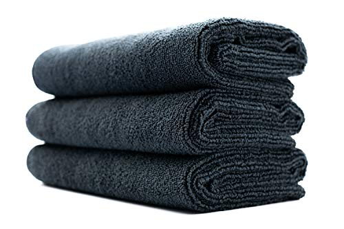 The Rag Company (3-Pack) 16 in. x 27 in. Sport, Gym, Exercise, Fitness, Spa & Workout Towel - Ultra Soft, Super Absorbent, Fast Drying 320gsm Premium Microfiber (Black, 16x27)
