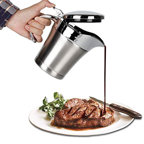 IAXSEE Gravy Boats, Gravy Warmer, Double Wall Stainless Steel Make, Creamer Pitcher and Caramel Sauce for Coffee, 19oz Stainless Steel Pitcher