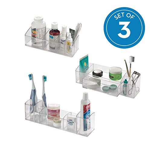 iDesign Med+ Plastic Bathroom Medicine Cabinet Organizers for Toothbrushes, Contact Lenses, Medical, Cosmetics, Makeup Brushes, Craft Supplies, Set of 3 Unique Pieces, Combo Pack 3 Count