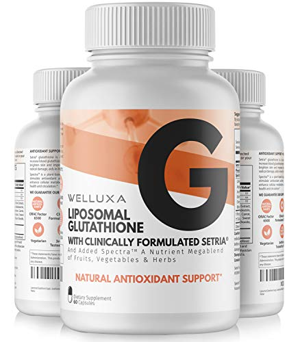 Liposomal Glutathione Setria® (600 mg) - Pure Reduced Glutathione Capsules for Skin Whitening Antioxidant Support Liver Detox Immunity - Liposomal Glutathione Supplement - GSH L-Glutathione (60 ct)
