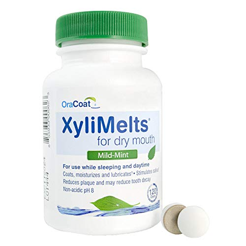 OraCoat XyliMelts Dry Mouth Relief Moisturizing Oral Adhering Discs Mild Mint with Xylitol, For Dry Mouth, Stimulates Saliva, Non-Acidic, Day and Night Use, Time Release for up to 8 Hours, 120 Count