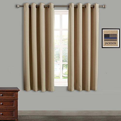 Rose Home Fashion Blackout Curtains Thermal Insulated Room Darknening Draperies 63 Inch Blackout Window Curtain Panels, 2 Pieces Blackout Curtains for Bedroom/Living Room, W52 x L63, Beige