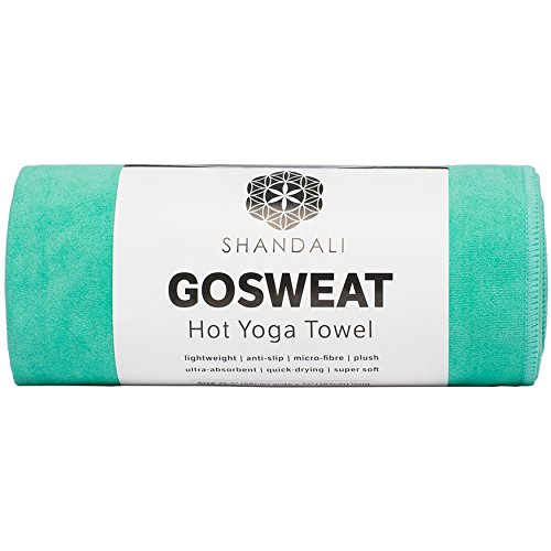 SHANDALI Hot Yoga Towel - Suede - 100% Microfiber, Super Absorbent, Bikram Yoga Towel - Exercise, Fitness, Pilates, and Yoga Gear. Teal 26.5' x 72'
