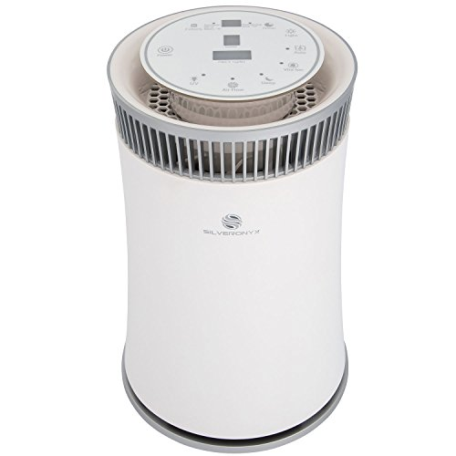 SilverOnyx Air Purifier with True HEPA Carbon Filter, UV Light, Ionizer. Best Home Air Cleaner for Allergies and Pets, Smoke, Dust, Mold, Smokers. Powerful Small to Large Room 500 sq ft. White