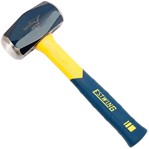 Estwing Sure Strike Drilling/Crack Hammer - 3-Pound Sledge with Fiberglass Handle & No-Slip Cushion Grip - MRF3LB