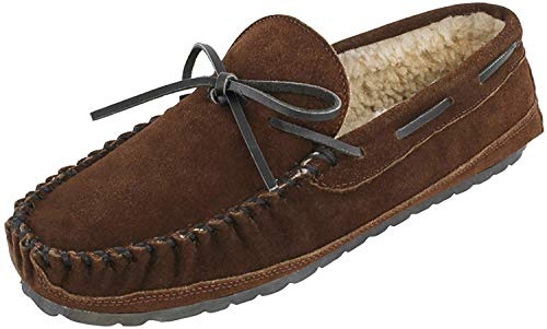 Minnetonka Men's Casey Slipper,Chocolate Suede,13 M US