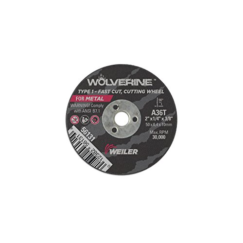 Weiler 56131 2' x 1/4' Wolverine Type 1 Snagging Wheel, A36T, 3/8'A.H. (Pack of 25)
