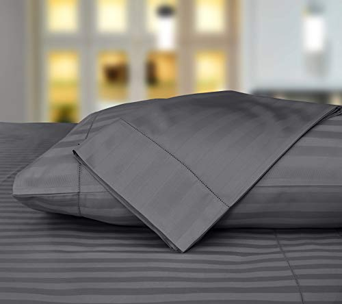 Threadmill Home Linen 500 Thread Count 100% ELS Cotton Sheets Damask Stripe Standard Pillowcases, Set of 2 Standard Pillowcases Luxury Bedding, Smooth Sateen Weave, Standard Size, Dark Grey