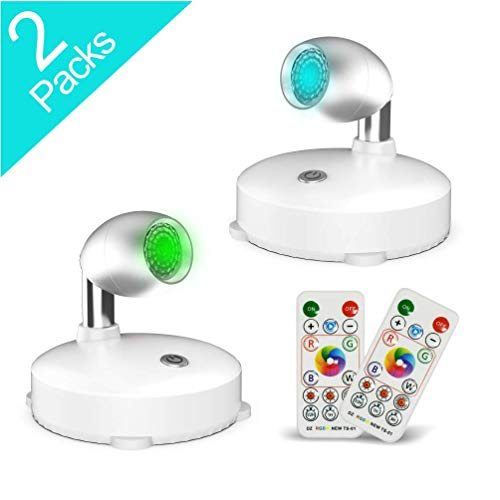 RGB Wireless Spotlight,LED Puck Light, LED Accent Lights Battery Operated with Remote, Dimmable Puck Light with Rotatable Light Head for Painting Picture Artwork Closet 2pack (Silver)