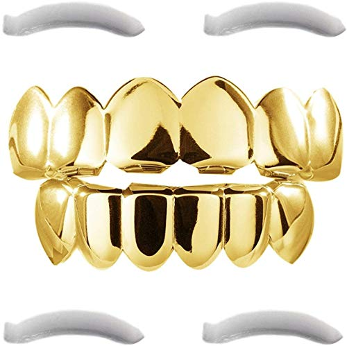 24K Plated Gold Grillz for Men and Women | Mouth Top Bottom Hip Hop Teeth Grills | + 2 Extra Molding Bars + 1 Storage Case + 1 Microfiber Cloth