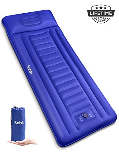Sable Camping Sleeping Pad/Mat, Most Comfortable Camp Sleep Air Mattress with Built-in Pillow & Pump, Insulated & Ultralight, Compact Portable Fast Inflatable for Backpacking Hiking Tent, 5R-Value