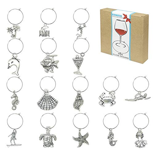 Wine Glass Charms Markers Tags Identification,Wine Charms for Stem Glasses,Wine Bachelorette Tasting Party Favors Decorations,Beach Themed Set of 16