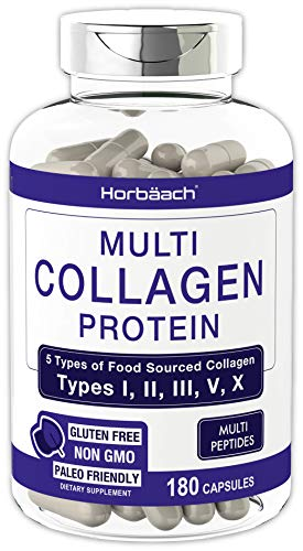 Multi Collagen Protein Capsules 2000 mg | 180 Count | Type I, II, III, V, X | Collagen Peptide Pills | Keto & Paleo Friendly, Non-GMO, Gluten Free Supplement | by Horbaach
