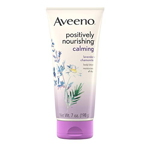 Aveeno Positively Nourishing Calming Body Lotion with Lavender, Chamomile, Soothing Oatmeal & Shea Butter, Daily Moisturizing Lotion for All-Day Hydration & Dry Skin Relief, 7 oz