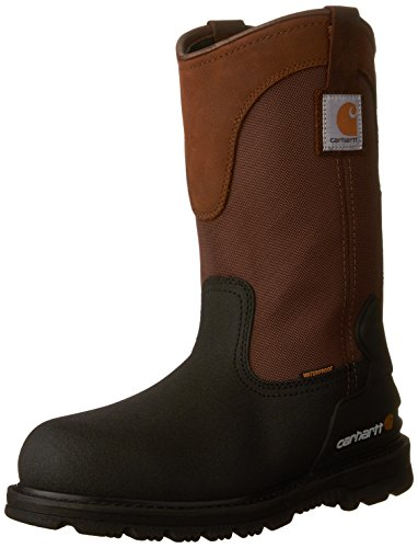 Carhartt Men's 11' Wellington Waterproof Steel Toe Pull-On Work Boot CMP1259, Brown/Black Leather, M US