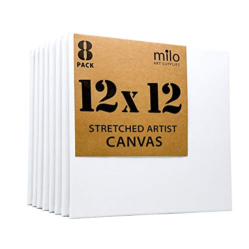 MILO | 12x12' Stretched Artist Canvas Value Pack of 8 | Primed Cotton Art Canvas Set for Painting | Ready to Paint Art Supplies | 8 White Blank Canvases