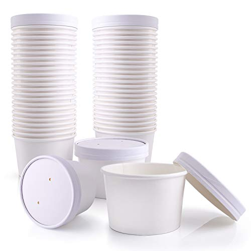 [50 Pack] 12 oz White Paper Food Cup with Vented Lid - Disposable Kraft Ice Cream Bucket, Rolled Rim Storage, Hot Cold Dish To Go Packaging, Soup Cups Ramen Stews Salad Frozen Dessert Yogurt Container