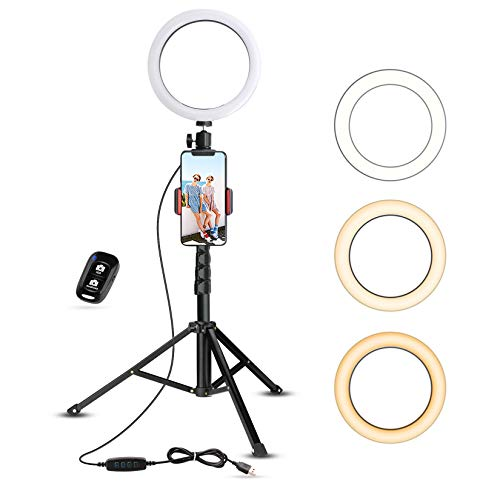Selfie Ring Light with Tripod Stand & Cell Phone Holder for Live Stream/Makeup, UBeesize Mini Led Camera Ringlight for YouTube Video/Photography Compatible with iPhone Xs Max XR Android (Upgraded)