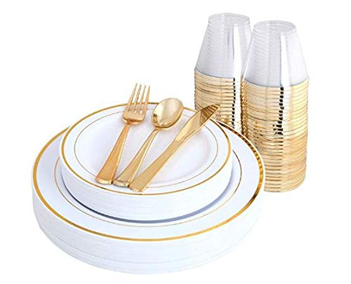BLACK SWAN 150 pcs Gold Rim Plates & Plastic Disposable Silverware & Gold Rim Cups, Disposable Dinnerware/Cutlery/Party Tableware for 25 Guest includes: 25 Dinner Plates, 25 Dessert Plates, 25 Tumbler