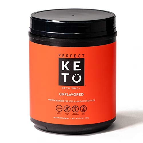 Perfect Keto Pure Whey Protein Powder Isolate Delicious 100% Grass Fed Meal Replacement Shake No Artificials, Gluten Free, Soy Free, Non-GMO (Unflavored)