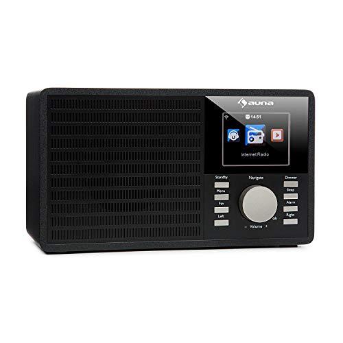 auna IR-160 Internet Radio - Radio Alarm, Digital Radio, WLAN, MP3/WMA-compatible USB Port, AUX, Alarm Clock, Music Streaming via UPnP, 2.8' TFT Color Display, Retro Look, Remote Control, Black