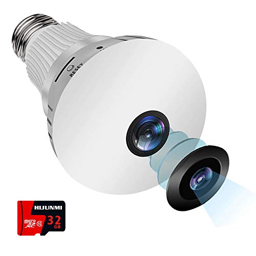Light Bulb Camera Include 32GB Card, 1080P WiFi Security Camera, 360 Degrees Panoramic VR Home Surveillance Cameras, Motion Detection & Night Vision for Android/iPhone/Windows